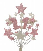 Number age 21st birthday cake topper decoration in pale pink and white - free postage